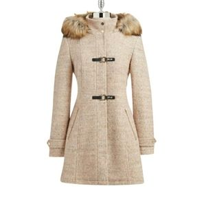Beige wool blend toggle coat